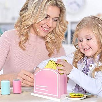 Utensilios Cocina Juguete,Tostadora Pan Comida de Juguetes Montessori Madera Juguete Alimentos de Imitacion Regalos para Cumpleaños Infantiles Niños 3 ...