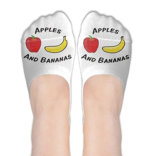 Cartton Apple And Bananas Fruit Quotes Womens Athletic Non Slip Ankle Compression Low Cut Loafer Socks For Yoga Train Hiking Cycling Running Sports Soccer