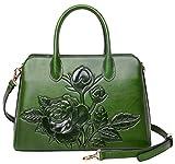 PIJUSHI Women Top Handle Handbag Satchel Floral Purses Genuine Leather Shoulder Bag 22618 (One Size, New Green)