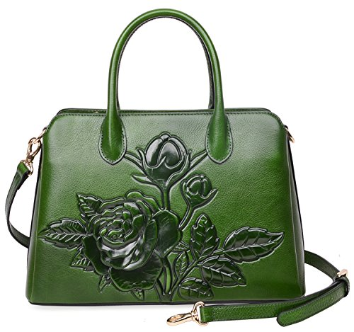 PIJUSHI Women Top Handle Handbag Satchel Floral Purses Genuine Leather Shoulder Bag 22618 (One Size, New Green) by PIJUSHI