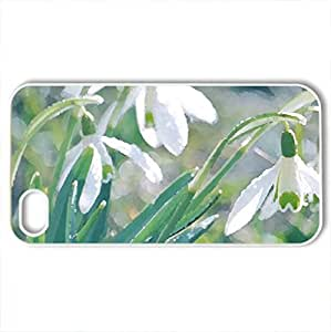 Snowdrops - Case Cover for iPhone 4 and 4s (Flowers Series, Watercolor style, White)