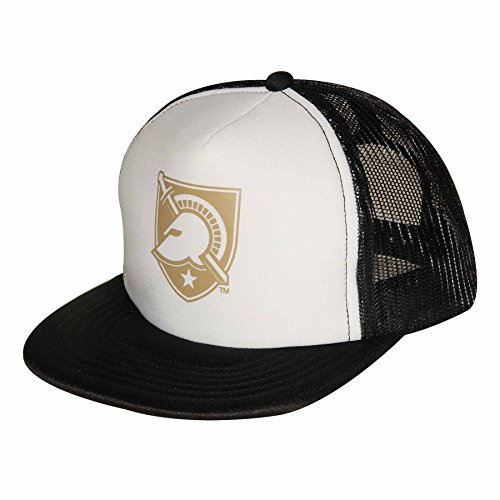 Ouray Sportswear NCAA Army Black Knights Foam Front Mesh Back Trucker Cap, White/Black, Adjustable Size - Knights Mesh Cap