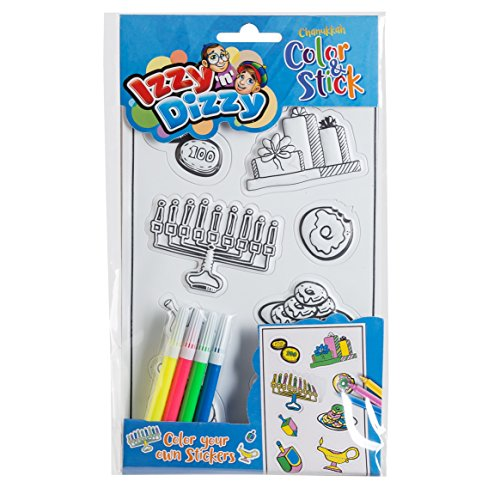 Chanukah Color and Stick - Color Your Own Stickers - Includes 4 Markers - Hanukah Arts and Crafts - Gifts and Games by Izzy 'n' Dizzy ()