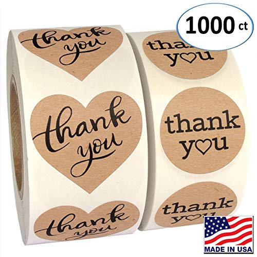 1000 Pack, Heart Love Shape Kraft Paper Thank You Adhesive Label, Complete Bundle, 1.5 Heart Shaped Stickers & 1.25 Round Adhesive Labels