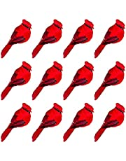 Actaday 12Pcs Artificial Red Birds Cardinal Clip On Christmas Tree Decorations, Artificial Birds Red Cardinals with Pine Branches for Christmas Decor, Winter Theme, Wreaths, Christmas Tree Ornament