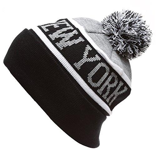 MIRMARU USA Favorite City Cuff Winter Knitted Pom Pom Beanie Hat. (Newyork,BlackGrey) (New Hat York Top)