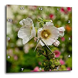 TattyaKoushi 15 by 15-inch Wooden Wall Clock, Flowers Malva Mallow Square Wall Clock, Living Room Clock, Home Decor Clock