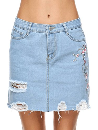 Joeoy Women's Casual High Waist Ripped A-Line Mini Short Denim Skirt