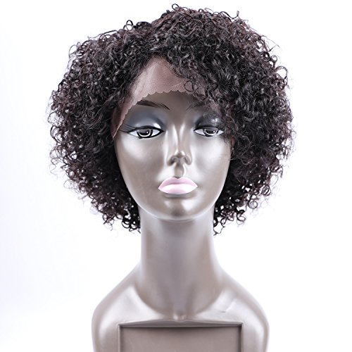 [Fani Short Curly Wigs for Black Women 8A Curly Explosion Head Wig Virgin Human Hair Lace Front Wig Natural Color Unprocessed Virgin Brazilian Hair Wigs with Free Wig] (Curly Wigs For Black Hair)