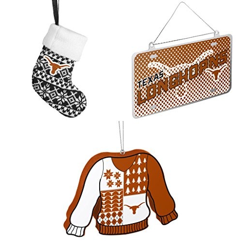 NCAA Texas Longhorns ORNAMENT STOCKING KNIT Metal License Plate Christmas Ornament Foam Ugly Sweater Bundle 3 Pack By Forever (Champions Christmas Stocking)