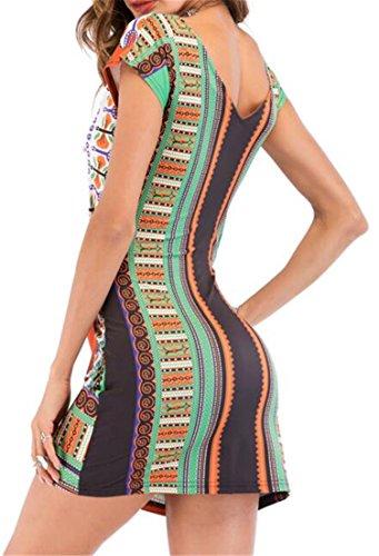 Cruiize Taille Haute Femmes Bobo Ethinc Été V-cou Mince En Forme De Mini Robe Orange