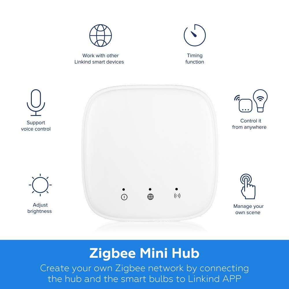 Linkind LED Zigbee Smart Bulb Starter Kit, 2 Dimmable Zigbee LED E26 Bulbs & 1 Mini hub, 9W 2700K Warm White, 60W Equivalent, Compatible with Alexa