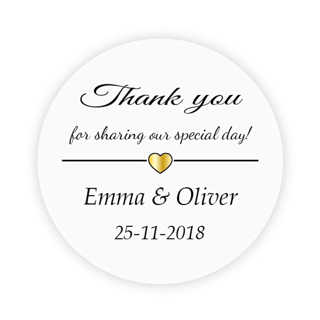 48x personalised 40mm gold heart wedding favour stickers thank you for sharing stickerfits golden themed wedding favour50th anniversary party