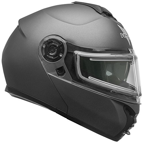 Vega Helmets unisex-adult flip-up-helmet-style Electric Snow Helmet (Matte Titanium, X-Large), 1 Pack