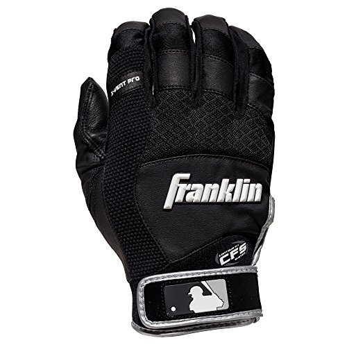 Adult Batting Gloves (Franklin Sports Adult MLB X-Vent Pro Batting Gloves, Adult Large, Pair, Black/Gray)