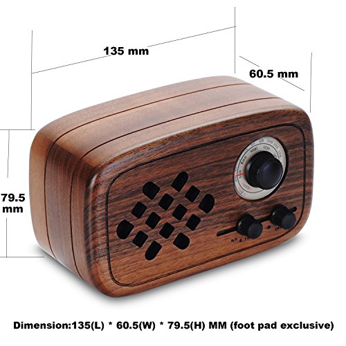 Rerii Handmade Walnut Wood Portable Bluetooth Speaker, Bluetooth 4.0 Wireless Speakers with Radio FM/AM, Nature Wood Home Audio Bluetooth Speakers with Super Bass and Subwoofer by Rerii (Image #5)
