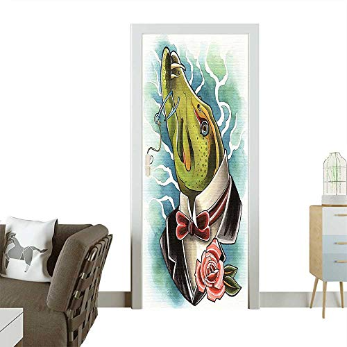 Decorative Door Decal Watercolor Depiction of Mr. Pike in Suits with The Hook Humor Satire Stick The Picture on The doorW23 x H70 INCH