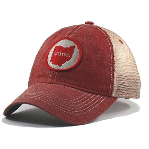Homeland Tees Men's Ohio Home Mesh Trucker Hat - Red