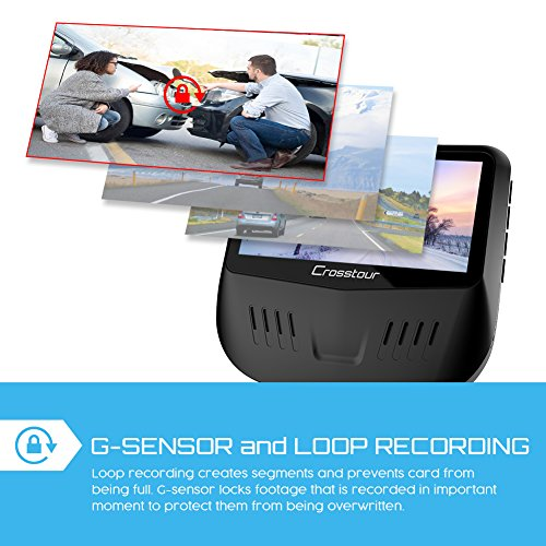 Both 1080P FHD Front and Rear Dual Lens Dash Cam in Car Camera Recorder Crosstour External GPS HDR Both 170176Wide Angle Motion Detection GSensor Loop RecordingCR900