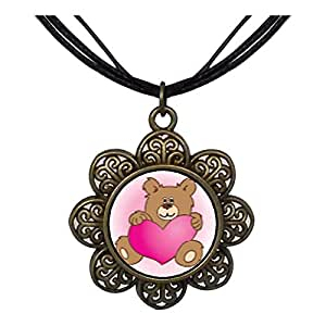 Chicforest Bronze Retro Style Brown Teddy Bear With Heart Sun Flower Pendant