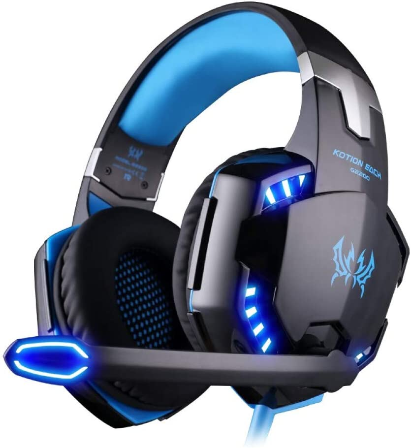 Gaming Headset for PS4, PC, Xbox One,Professional Noise Isolation Over Ear Headphones with Mic, LED Light, Wireless Gaming Headphones,Bass Surround, Soft Memory Earmuffs for Laptop Mac Nintendo