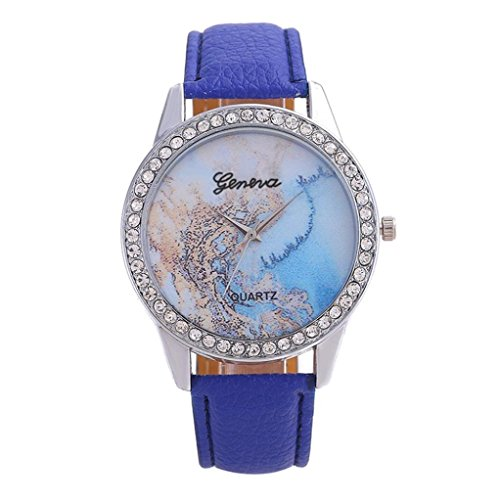 HighlifeS Ladies Watches Leather Band Round Case Fashion Women Watches (Blue) ()