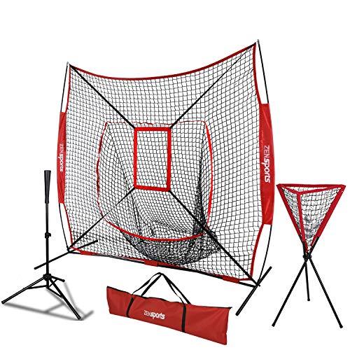 ZENsports 7' x 7' Baseball Softball Practice Hitting Pitching Net with Strike Zone Target and Bow Net Frame,Carry Bag,Batting Tee,Ball Caddy (Net+Batting tee+Ball Caddy)