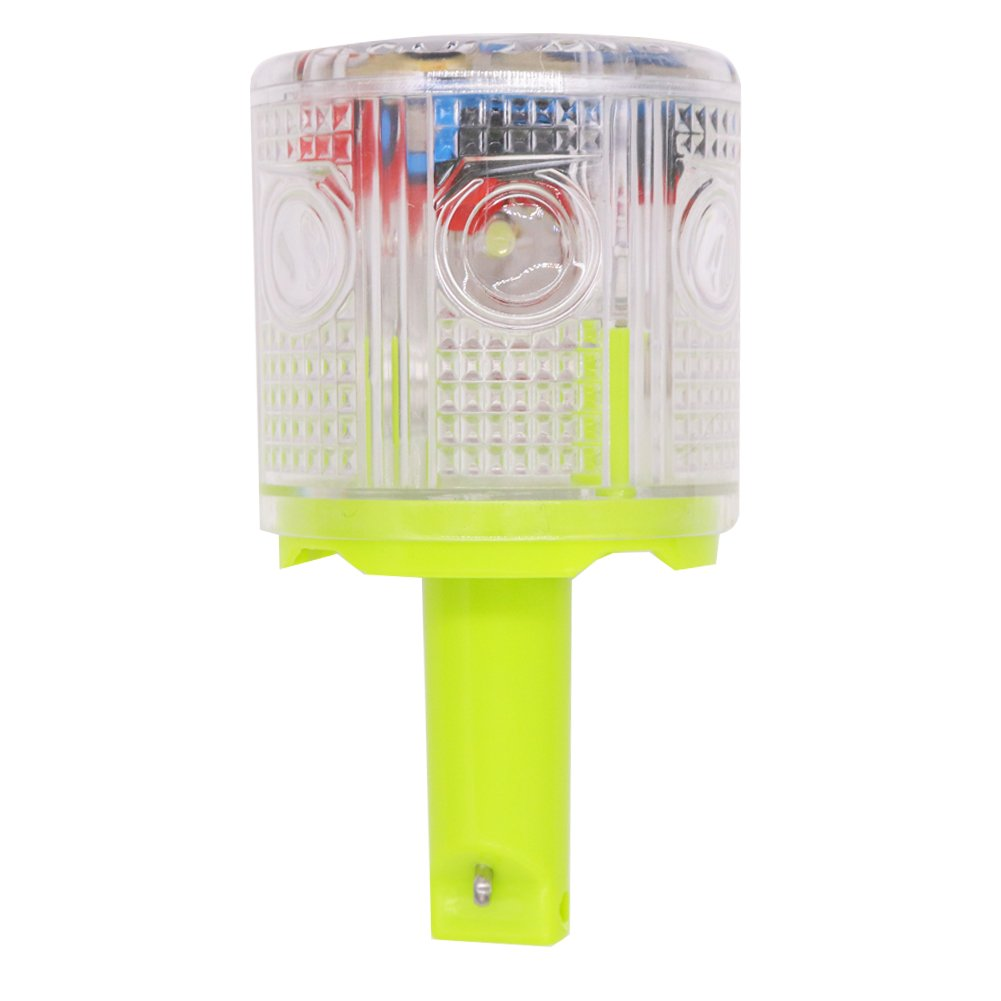 Aolyty Solar Strobe Warning Light 360 Degree Single Column Super Bright Waterproof IP48 for Construction Traffic Dock Marine Wireless Light Control Flashing ...