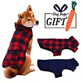 ESOEM Pet Dog Coat Winter Warm Plaid Cozy Dog Jacket Waterproof Windproof Reversible Dog Vest Apparel Cold Weather Outwear with Free Carrot Chew Toys Red M