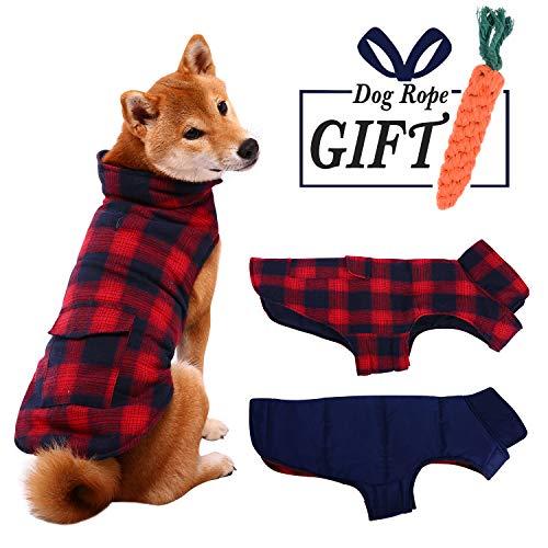 ESOEM Pet Dog Coat Winter Warm Plaid Cozy Dog Jacket Waterproof Windproof Reversible Dog Vest Apparel Cold Weather…