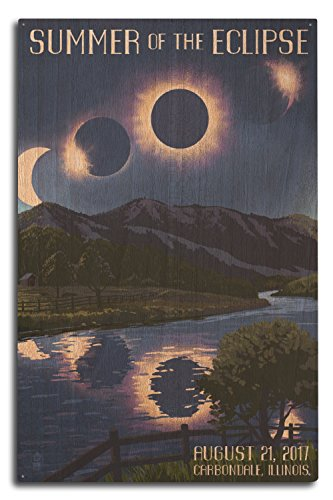Lantern Press Carbondale, Illinois - Solar Eclipse 2017 - Summer of The Eclipse (10x15 Wood Wall Sign, Wall Decor Ready to Hang) by Lantern Press