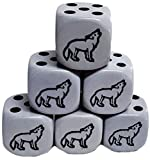 Custom & Unique {Standard Medium 16mm} 6 Ct Pack Set of 6 Sided [D6] Square Cube Shape Playing & Game Dice w/ Rounded Corner Edges w/ Simple Classy Design & Howling Wolf on Number #1 [Gray & Black]