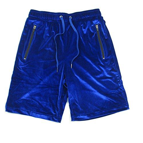 VFIVE UNFOUR Mens Velvet Velour Sport Fashion Hip Hop Gym Shorts Blue XL ()
