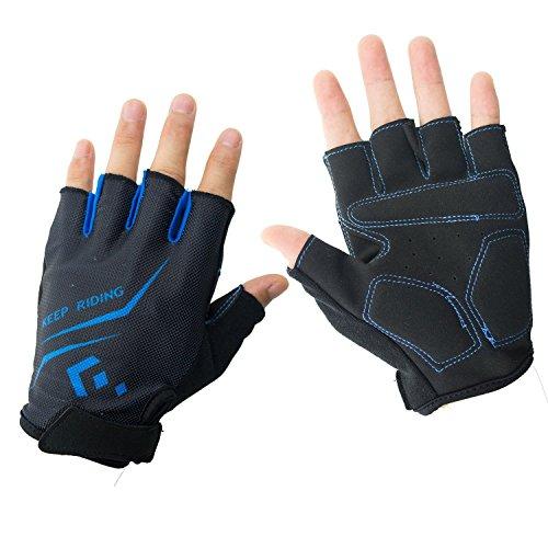 Hicool Fahrradhandschuhe Fitness- und Trainingshandschuhe Halb Finger Radsporthandschuhe Handschuhe für Herren und Damen - Ideal gloves für Radsport, Camping und mehr Sports im Freien (Blau, M)
