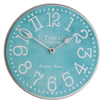 "The Big Clock Store Turquoise Wall Clock, Available in 8 sizes, Whisper Quiet, non-ticking - LIFETIME  WARRANTY.  We will replace your mechanism (not the entire clock) for as long as you own it. Mechanisms are tested before mailing, however, if it is damaged in shipping we will mail you a replacement. Some assembly is required to replace the mechanism. Our contact info is on clock back. (The warranty is through us not Amazon). SILENT QUARTZ MECHANISMS! Our clocks are very quiet. No annoying ticking!! Our clocks sit flat against the wall and do not wobble. The mechanisms are as recessed as possible, which makes for a nicely finished product. HANDMADE IN AMERICA BEAUTIFUL **PRINTED** FACE ON SOLID PIECE of 1/2"" MDF WOOD PRODUCT. The face is NOT a sticker. It is printed directly on the wood. Our clocks feel solid because of the thicker mdf wood. Our edges are nicely rounded. It takes us just a few days to make your clock. We are usually much faster than is listed. - wall-clocks, living-room-decor, living-room - 51HglAV390L. SS400  -"