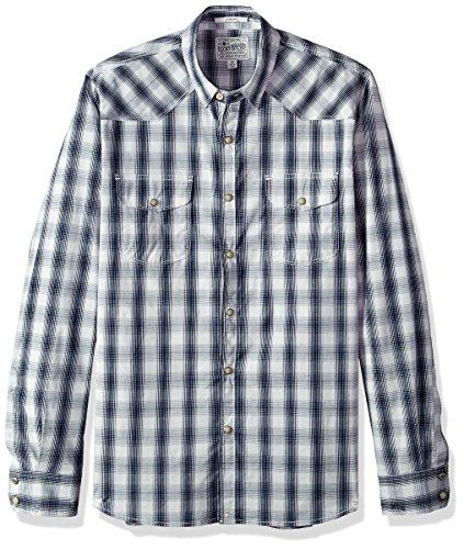 Lucky Brand Men's Button Up Western Shirt, Blue/White, M (Lucky Brand Shirt Western)