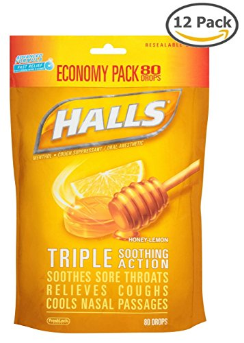 Halls Mentho-Lyptus Honey Lemon Throat Cough Drops, 80 CT (Pack of 12)