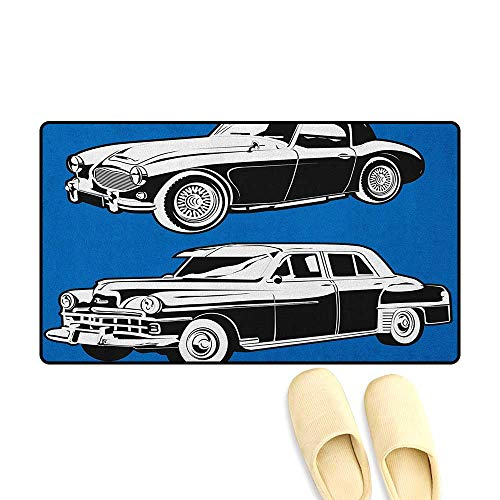 zojihouse Cars Door Mat Indoors Bathroom Non Slip Black and White Vintage Cars on Navy Blue Backdrop Classic Old Vehicles Size:16