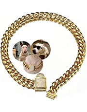 Aiyidi Dog Chain Collar Stainless Steel with Zirconia Lock Luxury Dog Necklace 14MM Heavy Duty Choke Collar Cuban Chain Collar for Small Medium Large Dogs