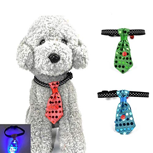S WIDEN ELECTRIC 2 PCS Per Set Shiny Tie Birthday Dog Bell Collar Rings Glowing Luminous Sequin Pendant for Halloween Christmas Holiday Party Carnival