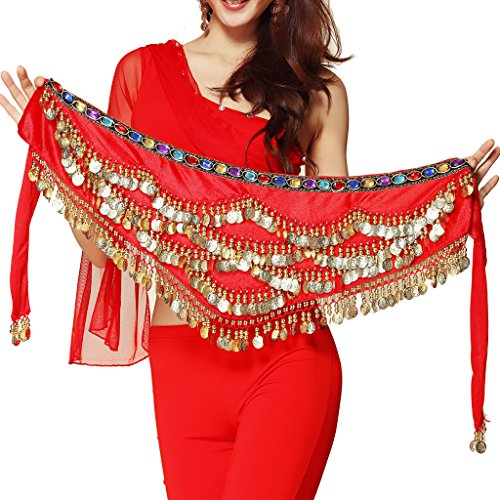Gold Pilot - Pilot-trade Women's Triangular Belly Dancing Hip Scarf Wrap Skirt with Gold Coins Red