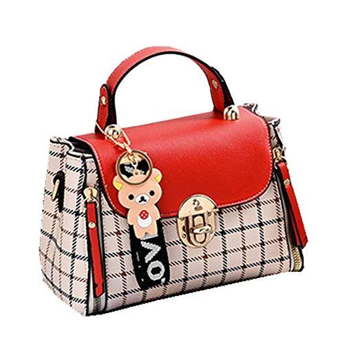 FTSUCQ Womens Checkered Printed Satchels Shoulder Handbags Casual Messenger Bag Hobos Satchels Purse ()