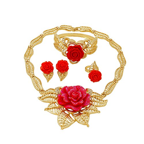 (Liffly Dubai Red Rose Gold Plated Jewelry Sets Necklace Earrings Ring Bracelet)