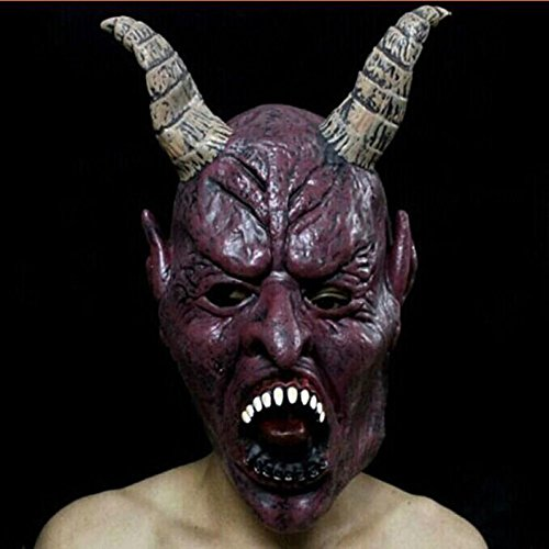 HUPLUE Halloween Demon Mask Horn Skeletons Mask Party Costume Scary Cosplay Prop Demon Skeleton