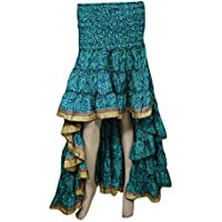 Mogul Interior Womens Fairy Skirt Recycled Sari Free Falling Twirling Ruffle Bohemian Hi Low Skirts