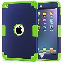 iPad mini 4 Case, iPad mini 4 Retina Case, Easytop Anti-slip Shock-absorption Silicone Inner Bumper High Impact Resistant Hybrid Three Layer Protective Cover Case for iPad mini 4 (Navy + Green)