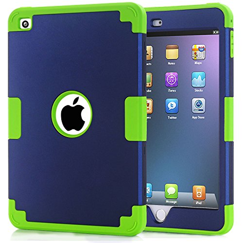 - iPad mini 4 Case, iPad mini 4 Retina Case, Easytop Anti-slip Shock-absorption Silicone Inner Bumper High Impact Resistant Hybrid Three Layer Protective Cover Case for iPad mini 4 (Navy + Green)