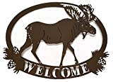 Cheap Cabin Lodge Decor Moose Welcome Sign, Metal Art, 20″ x 15″ (Brown)