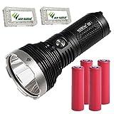 Combo: Acebeam K65 Cree XHP70.2 LED De-Domed 6200 Lumen Flashlights w 4x 3500mAh 10A Sanyo 18650 batteries & 2x Eco-Sensa battery cases
