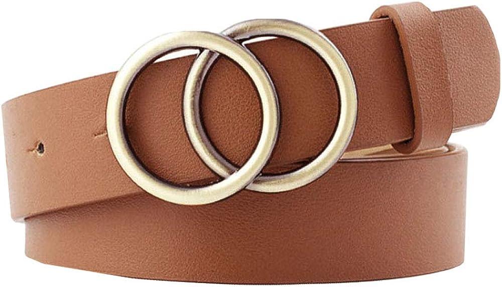 CLARA Women Vintage Western Waist Belt Double Buckle Belt PU Leather Waistband for Jeans Dress